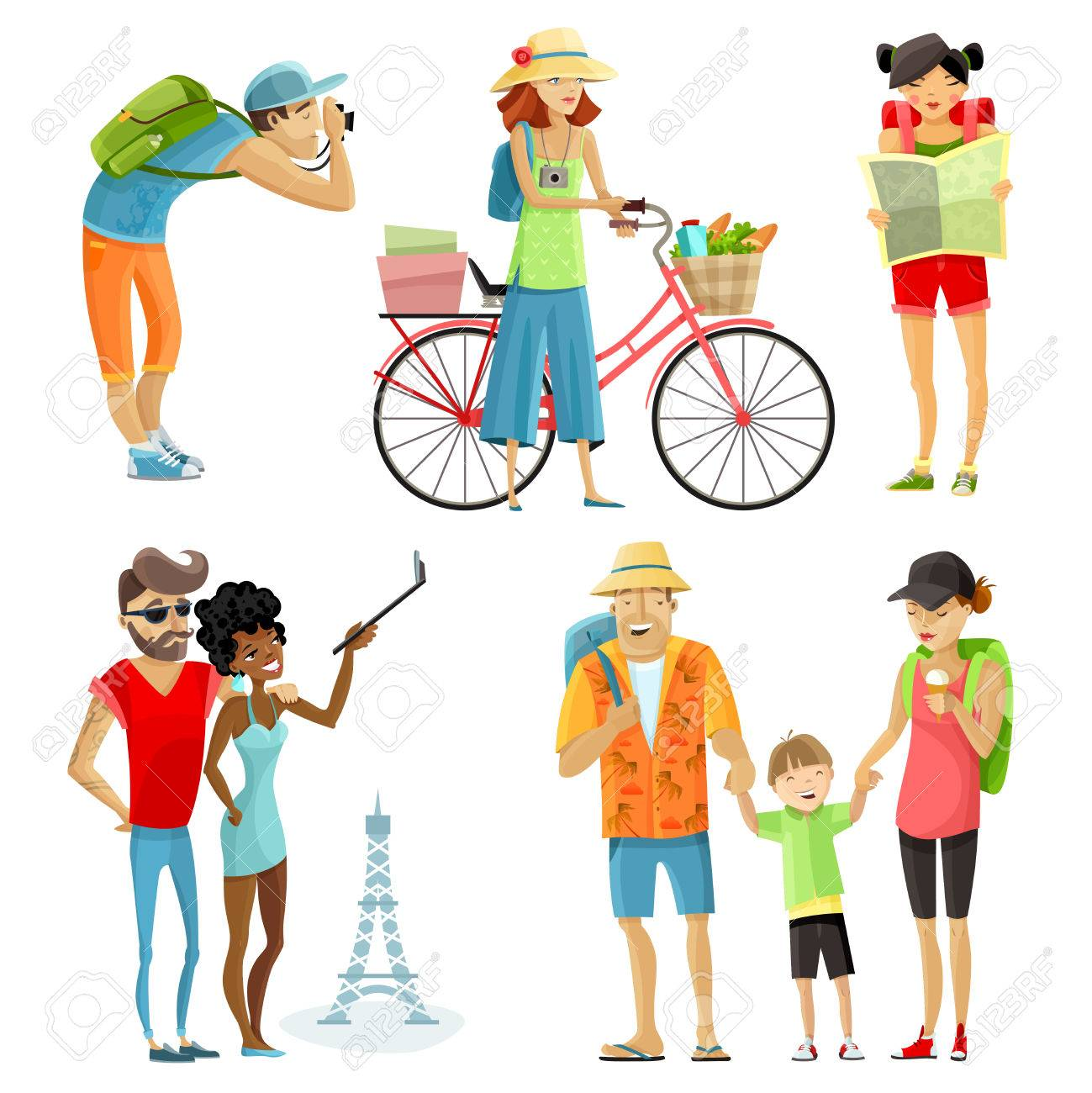 Traveling people cartoon set with sightseeing and rest symbols isolated vector illustration - 58962788