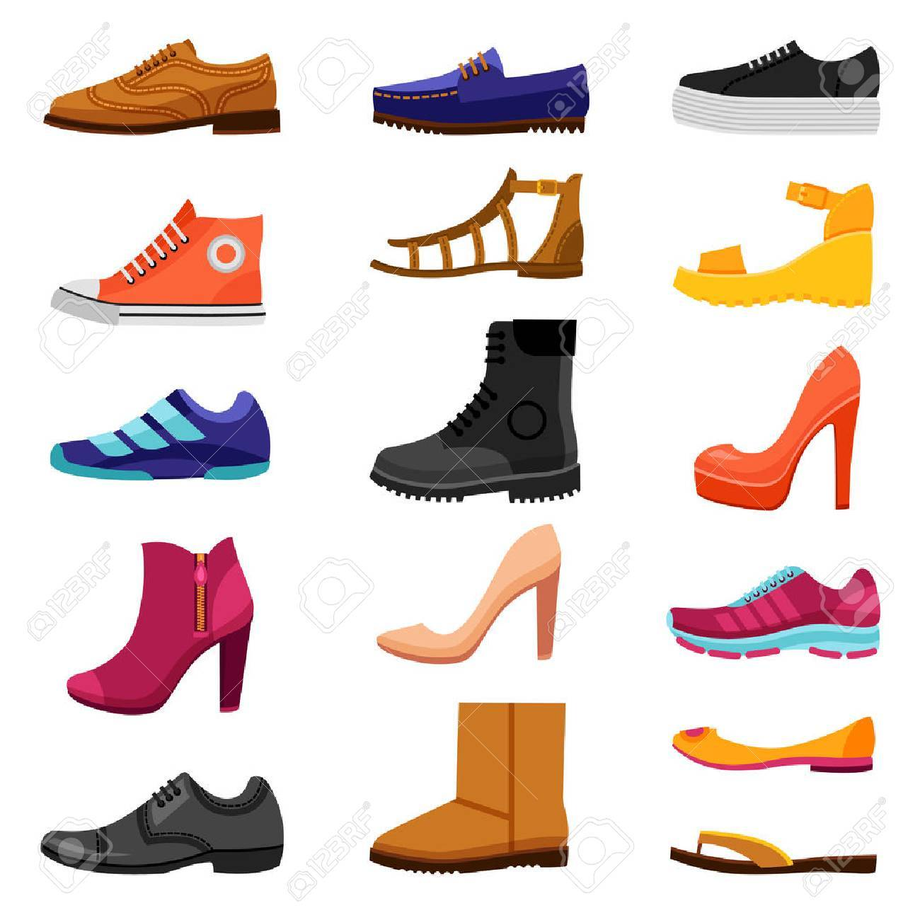 Footwear flat colored icons set of male and female shoes boots sandals for different seasons isolated vector illustration - 59152206