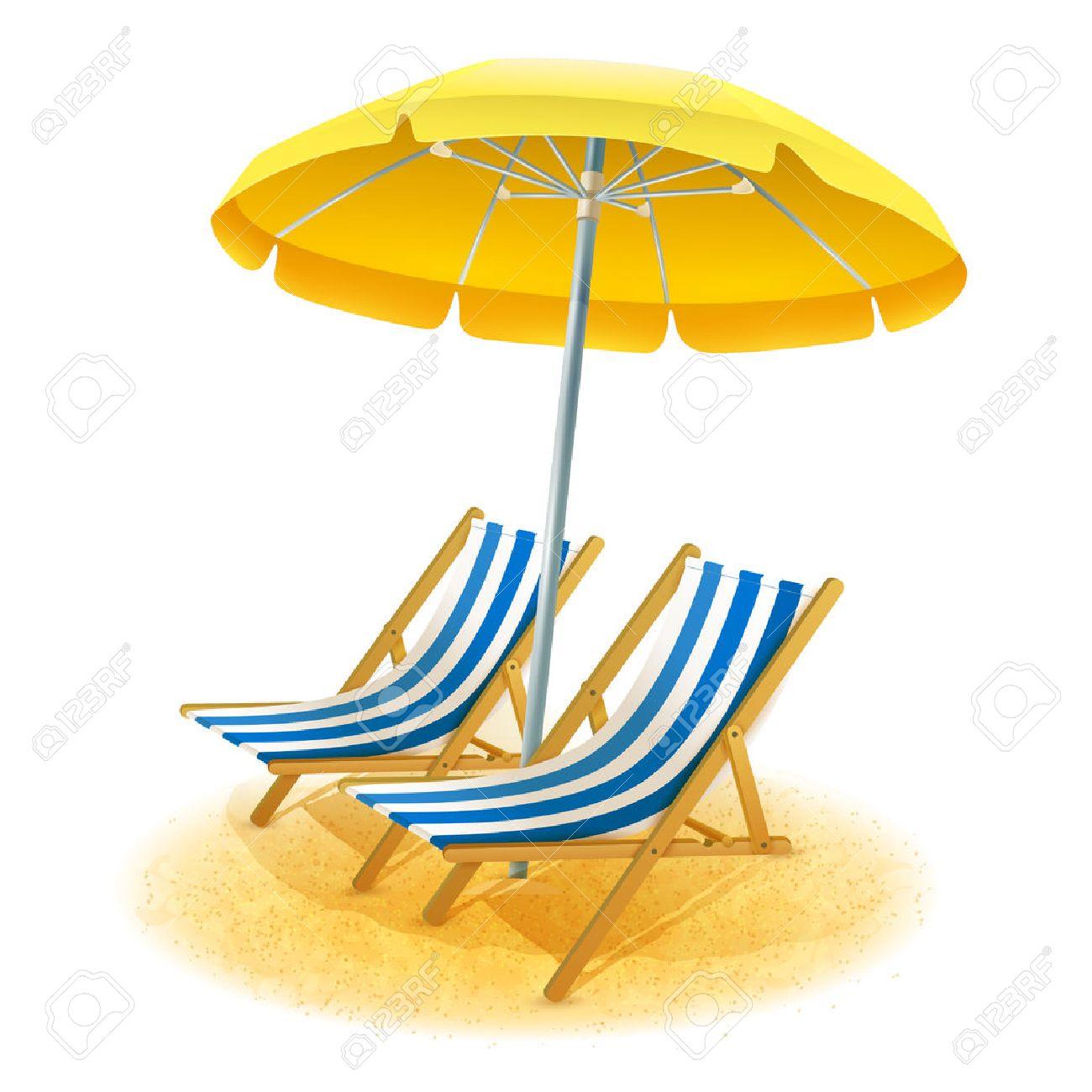 Sonnenschirm strand clipart  Strand Sommerurlaubsort Mit Liegestühlen Und Sonnenschirm Cartoon ...