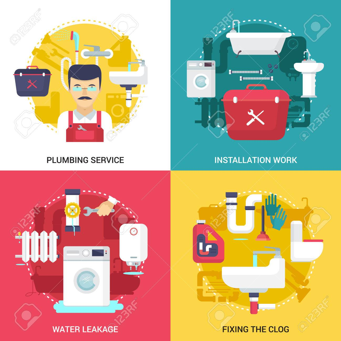 clogged drains cleaning and installations plumbing service concept rh 123rf com