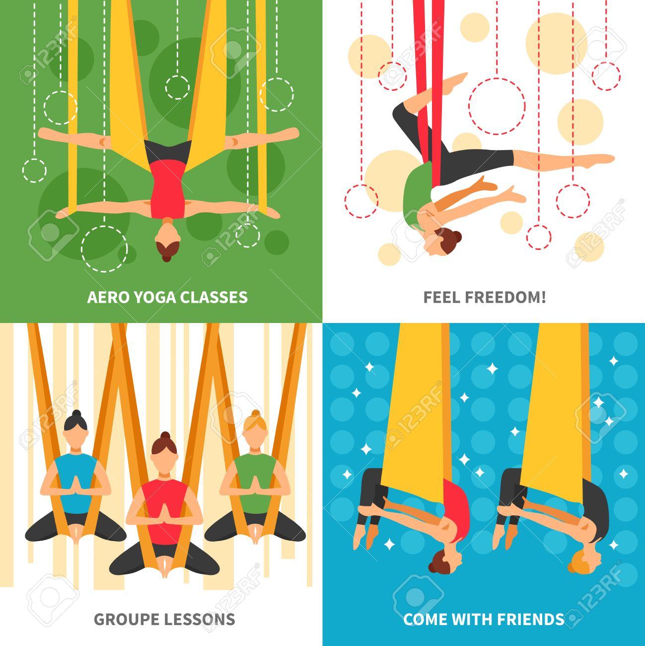 Aero Yoga Design Concept Four Square Icon Set With Themes Aero Royalty Free Cliparts Vectors And Stock Illustration Image 59152270