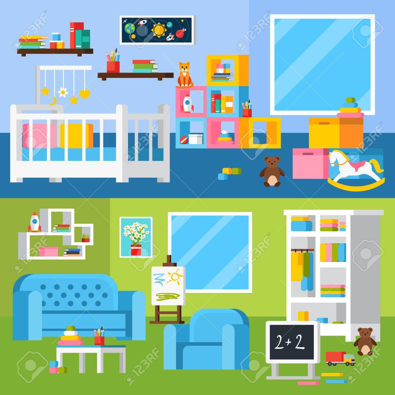 Sala De Lactancia Banderas Planas Con Muebles De Cuna Para Niño ...