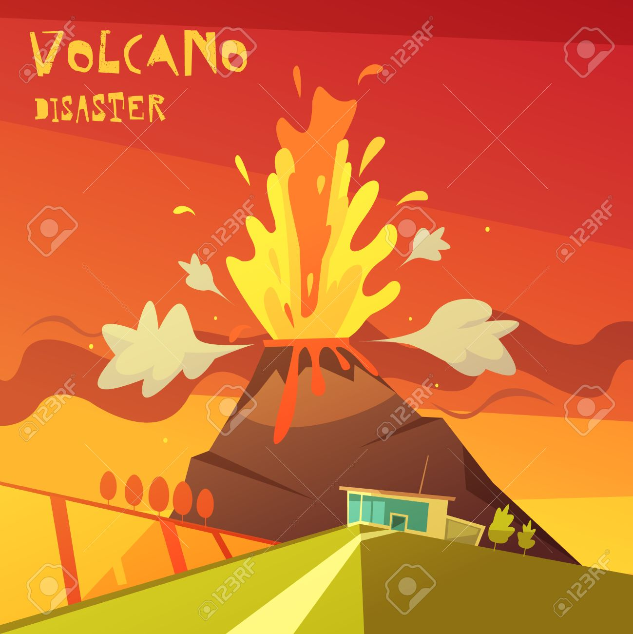 Couleur Catastrophe Volcan Dessin Animé Illustration Lave