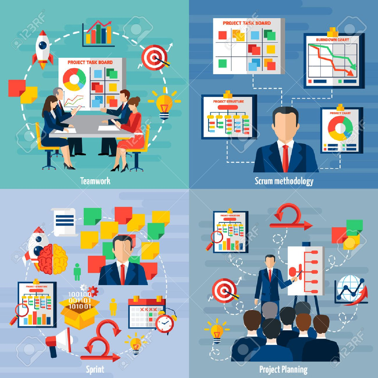 Scrum agile iterative flexible software development framework for teamwork 4 flat icons square composition abstract vector illustration Stock Vector - 59352399