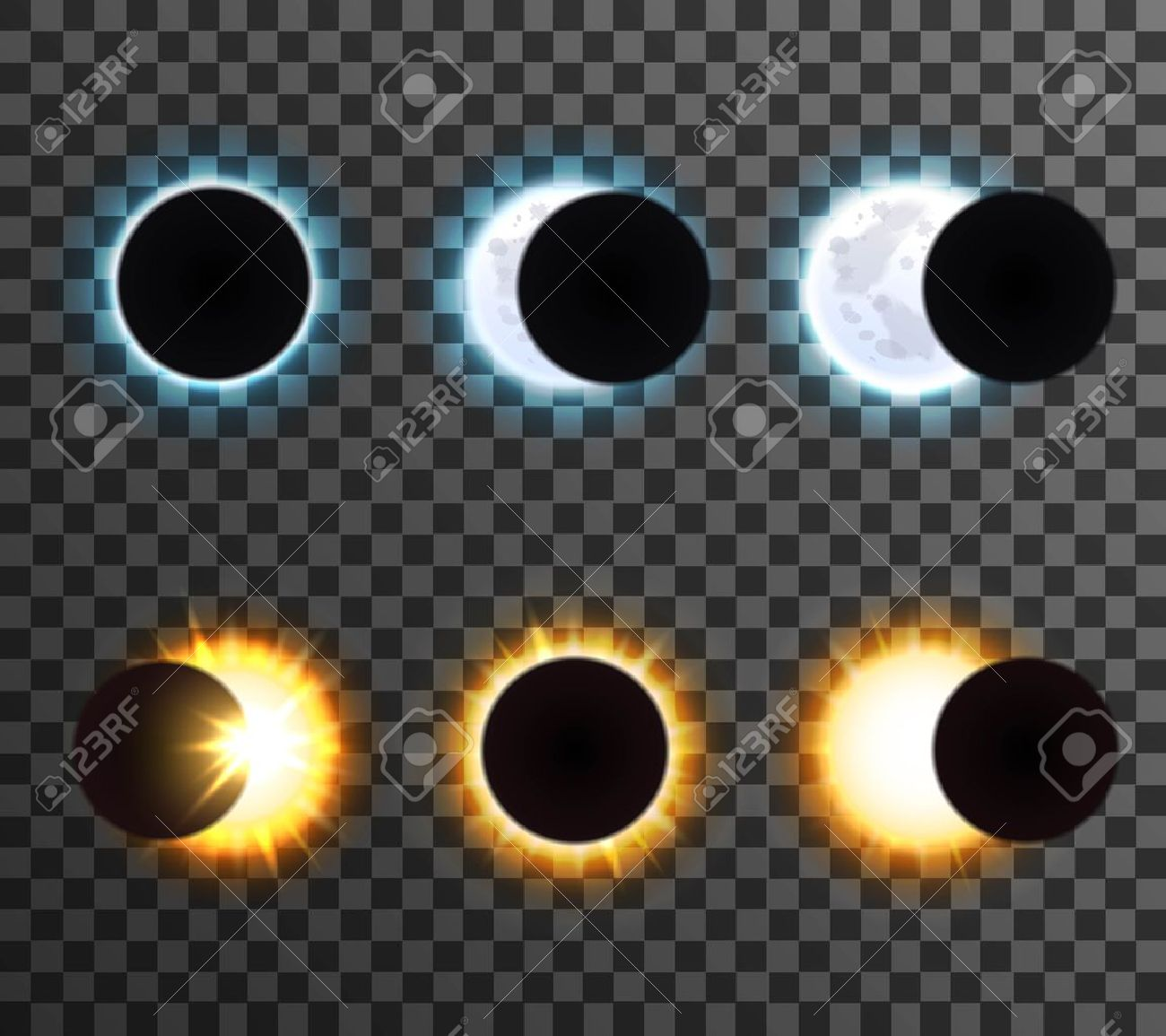 Different phases of sun with rays and shining moon cartoon isolated icons set on transparent background vector illustration Stock Vector - 59353076