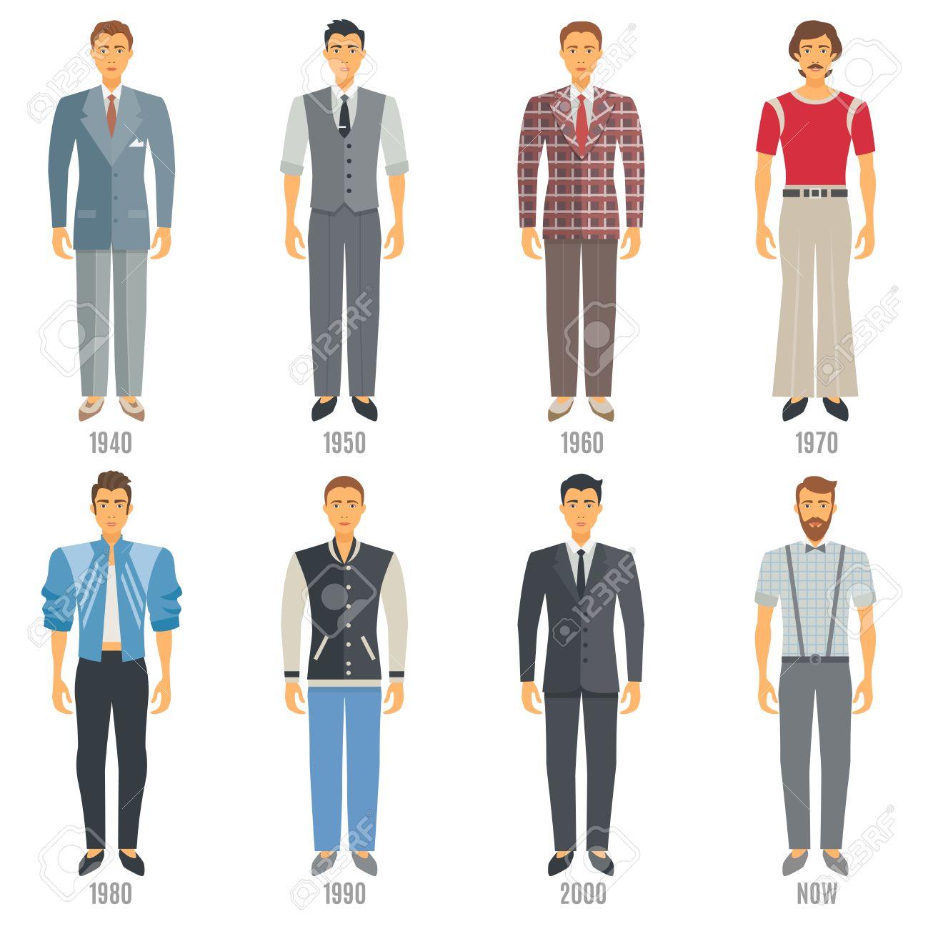852970ee Men Fashion Icons Set. Fashion Evolution Vector Illustration. Man Fashion  Development Decorative Set.