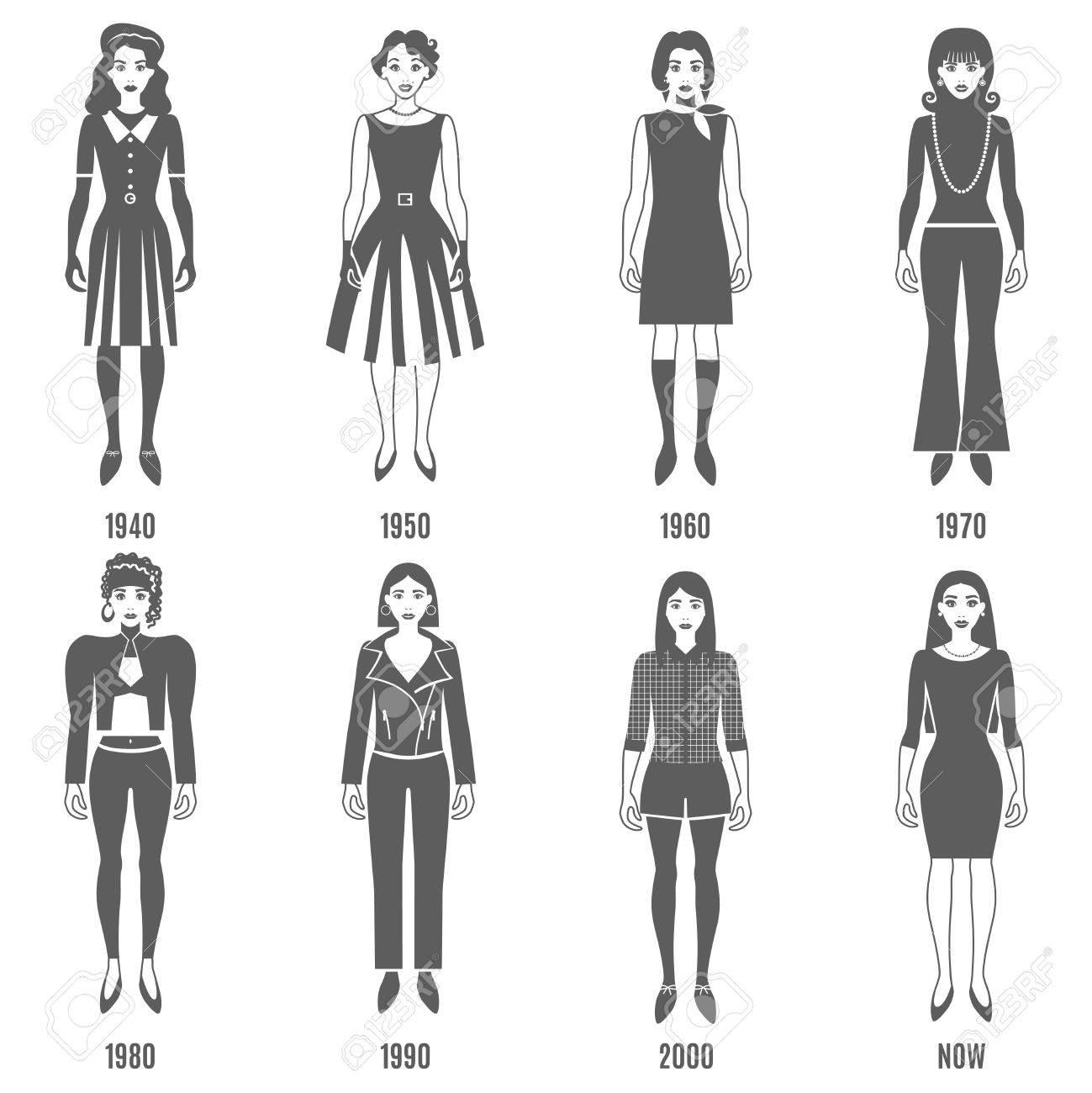 女性ファッションの黒白いアイコンを設定。ファッション開発ベクトル イラスト。女性ファッションの進化の装飾セット。 進化・ ファッション ・  デザインを設定します。ファッションの進化フラット分離セット。