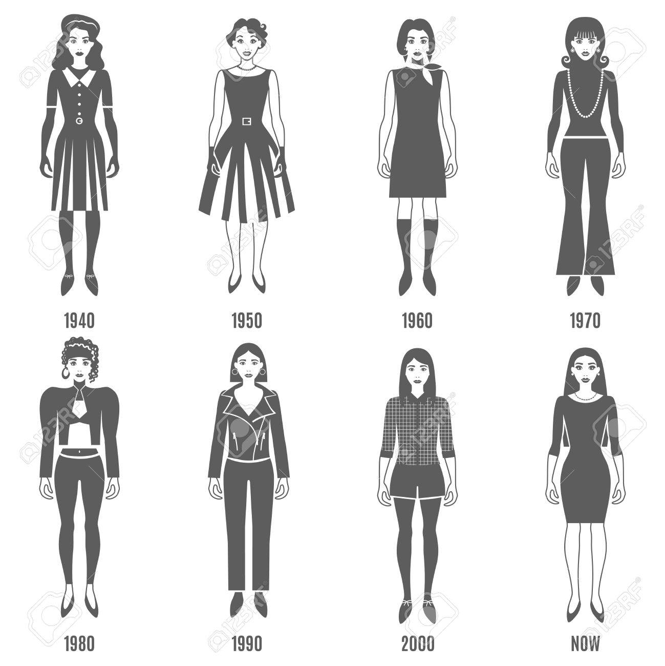 Women Fashion Black White Icons Set Fashion Development Vector Royalty Free Cliparts Vectors And Stock Illustration Image 59353102