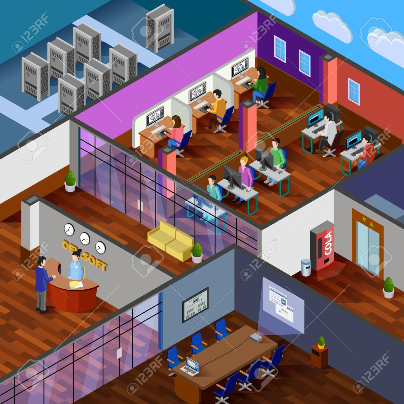 Development Office Isometric Design Concept With Reception Server Room  Conference Hall And Working Place For Software