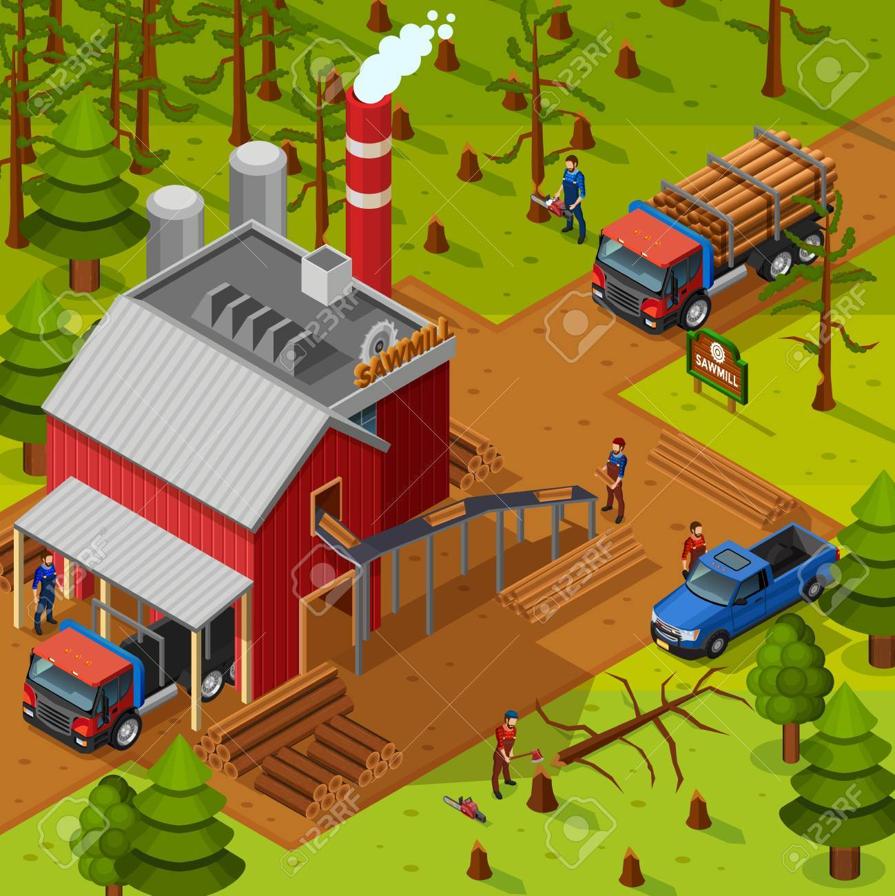 Lumberjack isometric composition with sawmill building vehicles