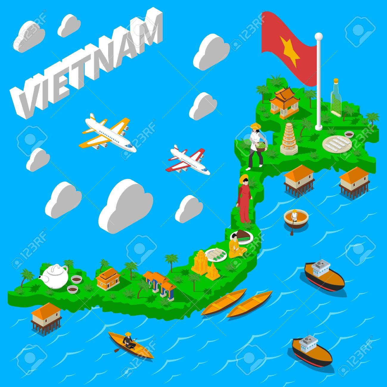 Vietnam Map For Tourists With National Flag Food Landmarks And - National landmarks map