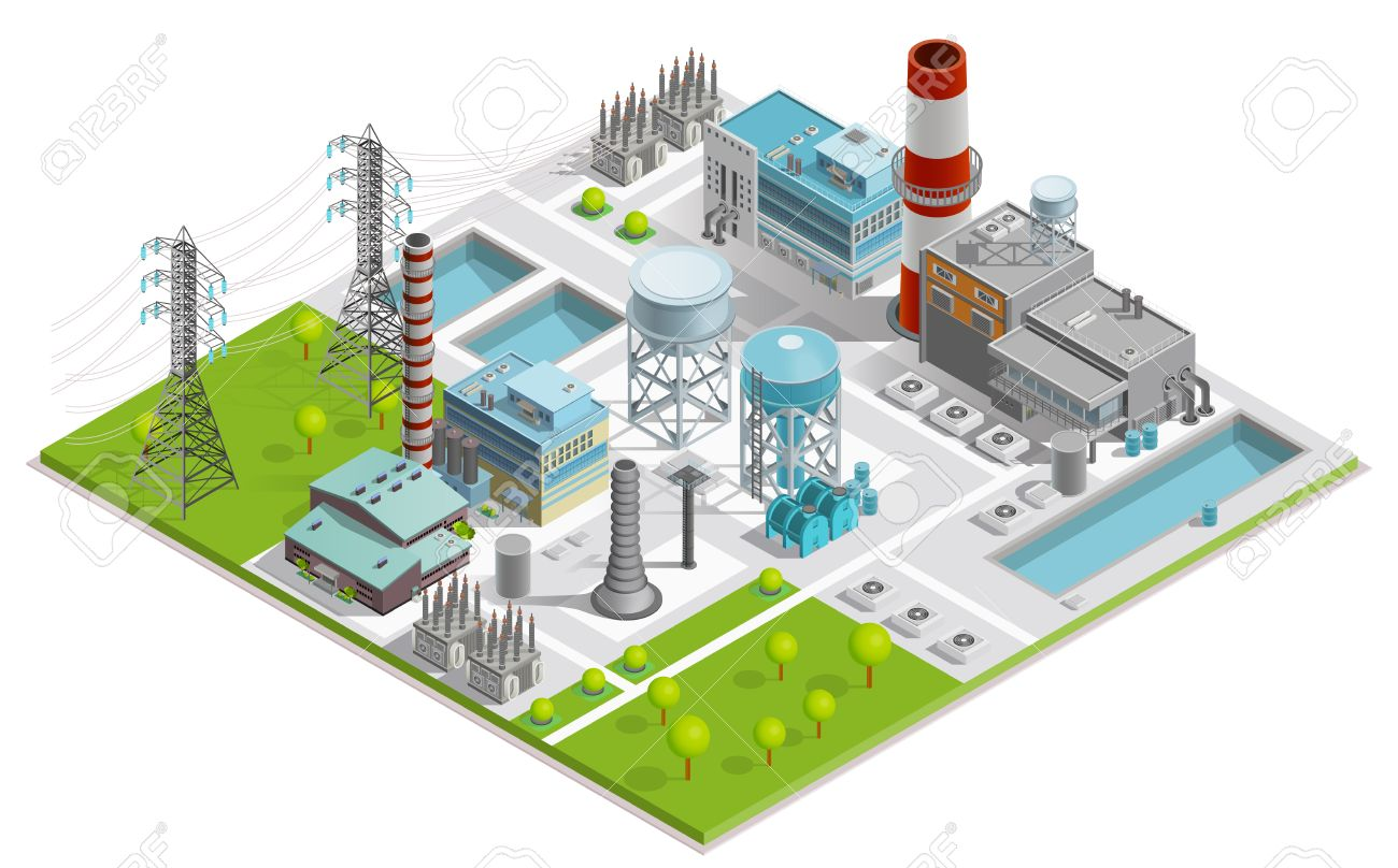 Vector illustration of boiler factory for production of thermal and electrical energy with power line supports isometric concept Stock Vector - 59636952