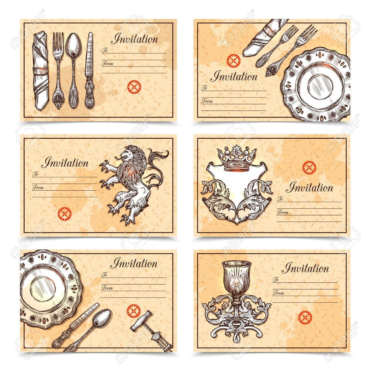 Hand drawn vintage menu set with cutlery and crest images and hand drawn vintage menu set with cutlery and crest images and place for invitation text vector stopboris Choice Image