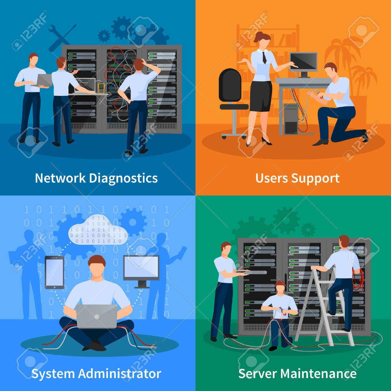 Network engineer and it administrator 2x2 design concept set of network diagnostics users support and server maintenance elements vector illustration Stock Vector - 59676133