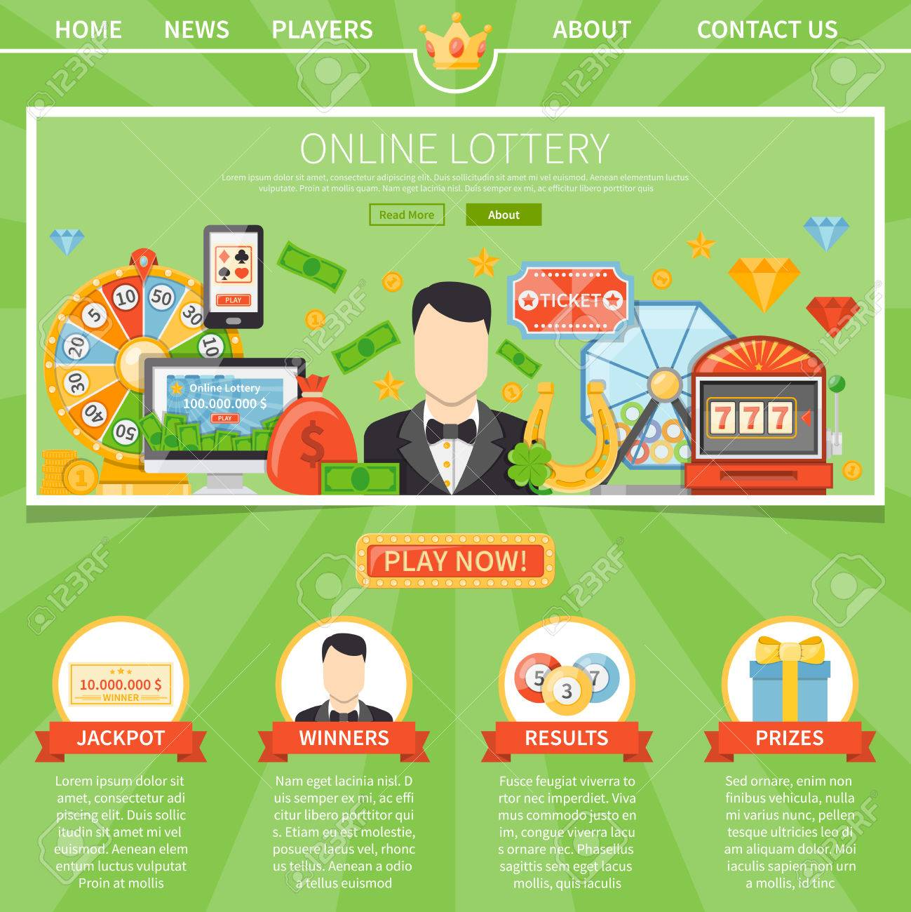 Online Lottery One Page Advertising Template For Website With ...