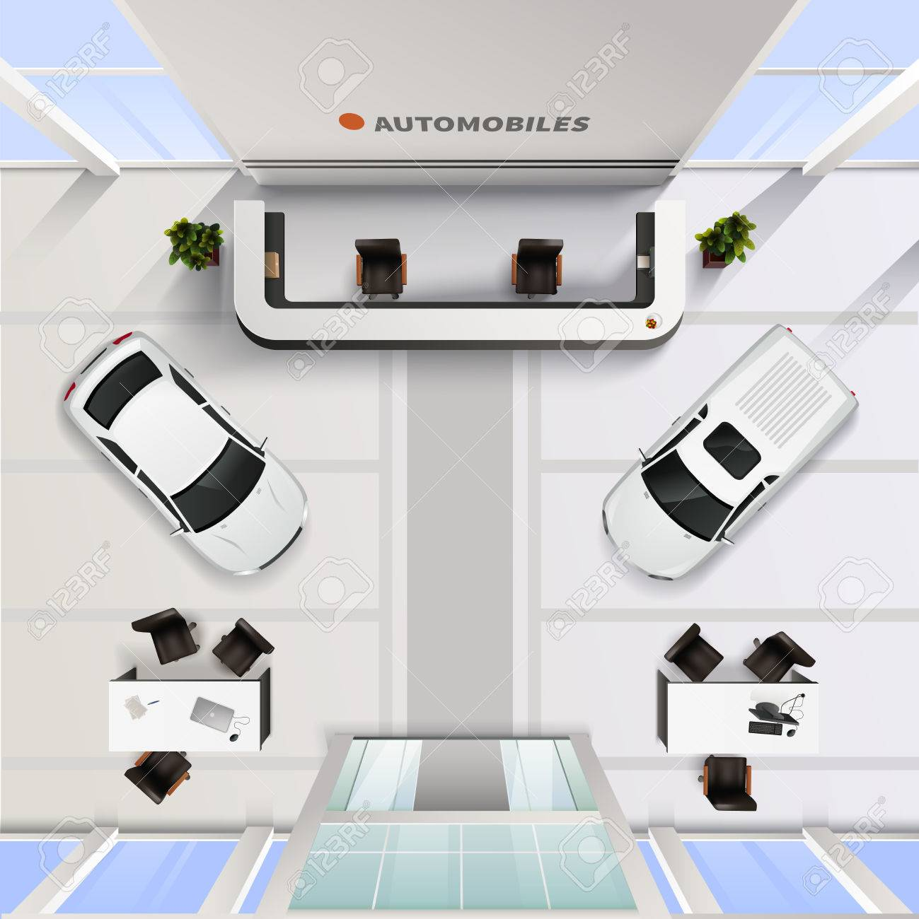 Isometric Top View Office Interior Of Automobile Salon With Cars