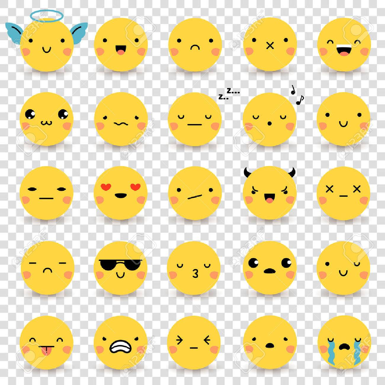 Twenty-five cute yellow flat emoticons set with various emotions isolated on transparent background vector illustrations Stock Vector - 59676179