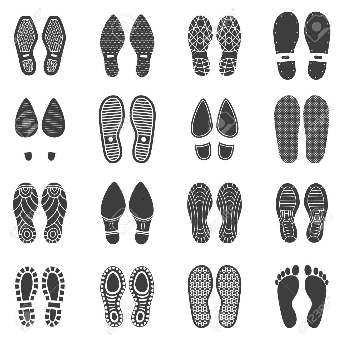 Monochrome icons set of parallel shoes footprint with white background vector illustration - 59676182