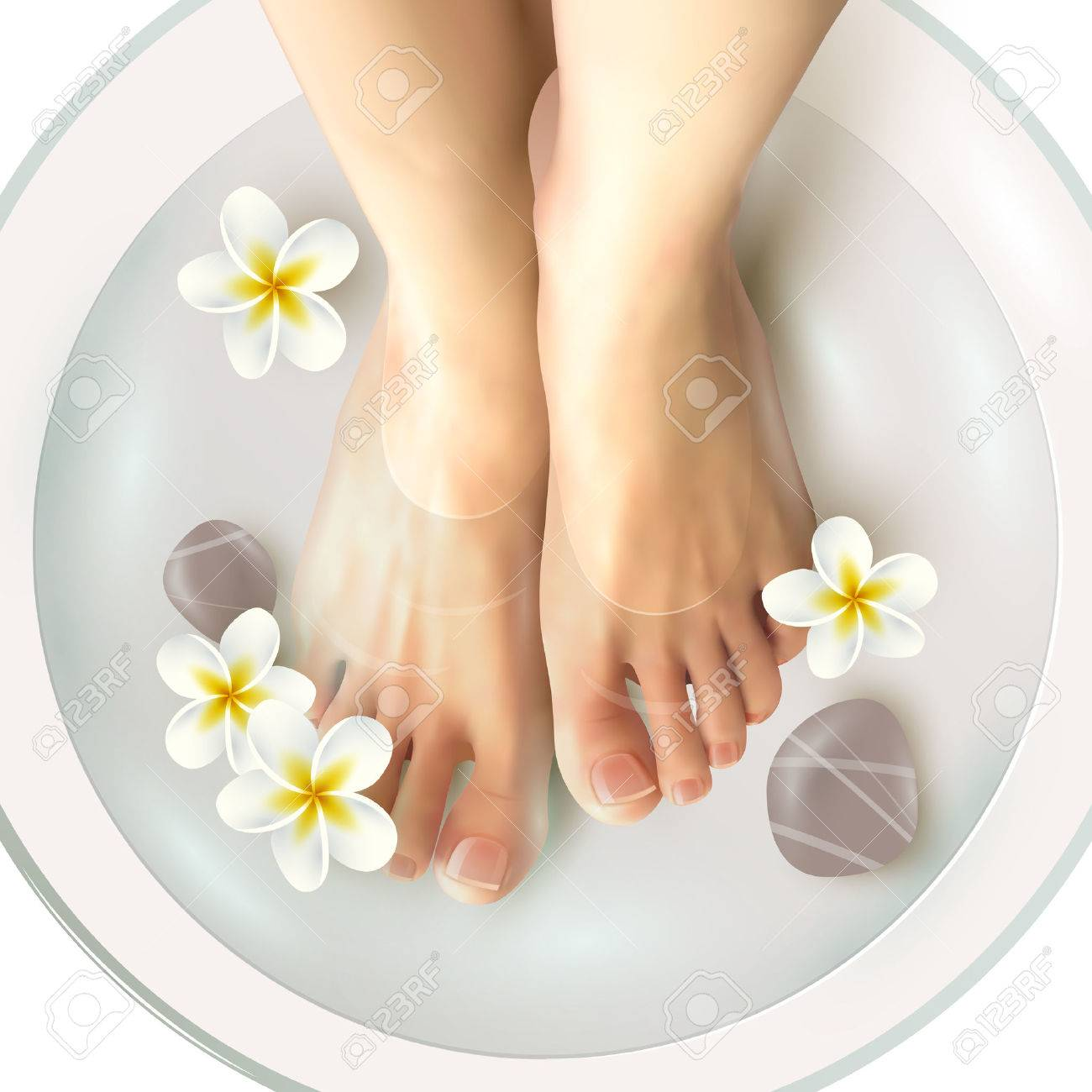Pedicure spa female feet in spa bowl with water flowers and stones realistic vector illustration Stock Vector - 60299095