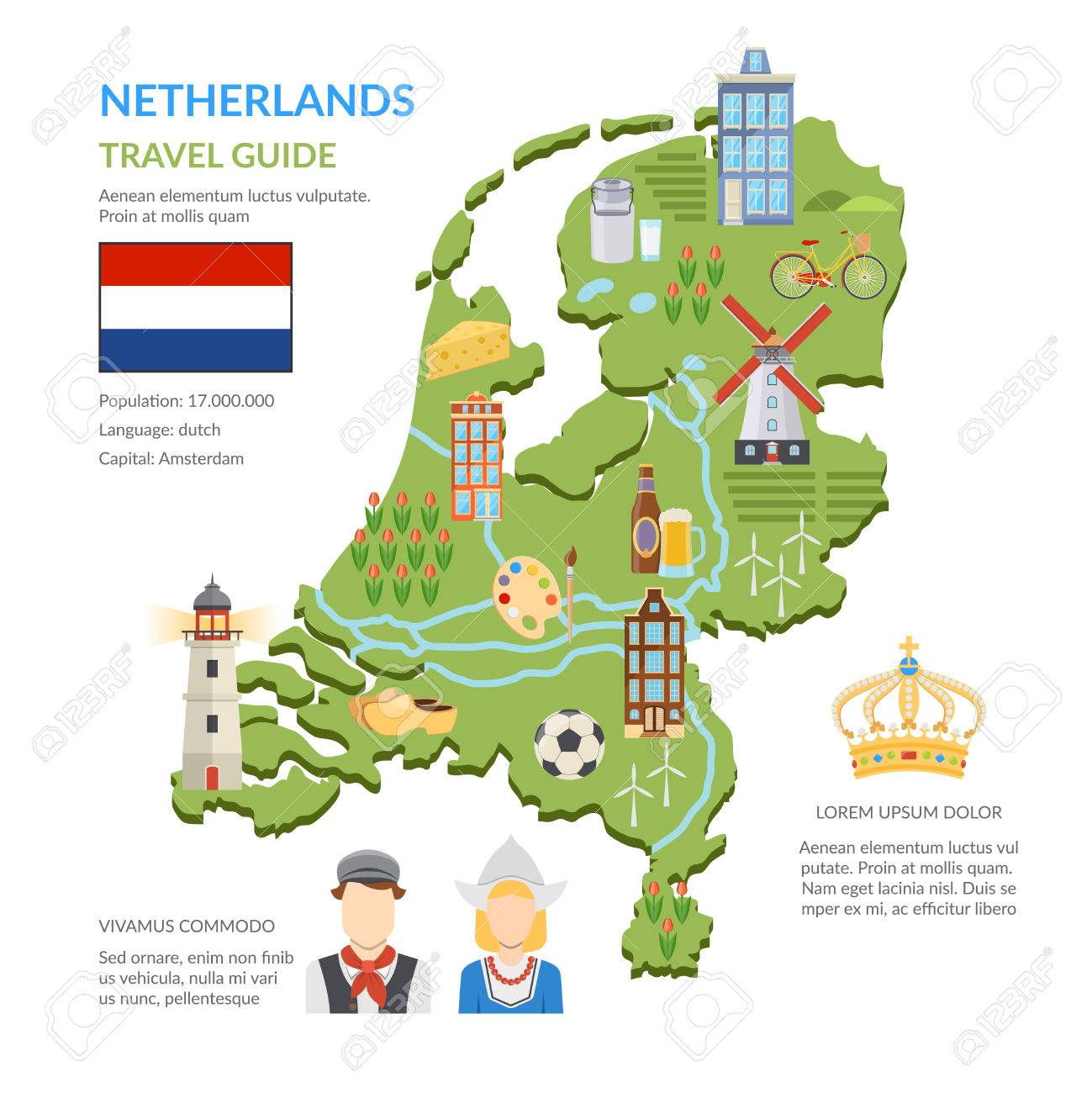 Flat design netherlands travel guide infographics presenting green map with dutch symbols flag and national costumes on white background vector illustration - 60299121