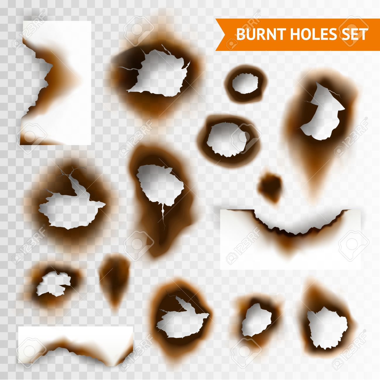 紙と分離した透明な背景のベクトル図の焦げた穴の焦げた部分のセットの