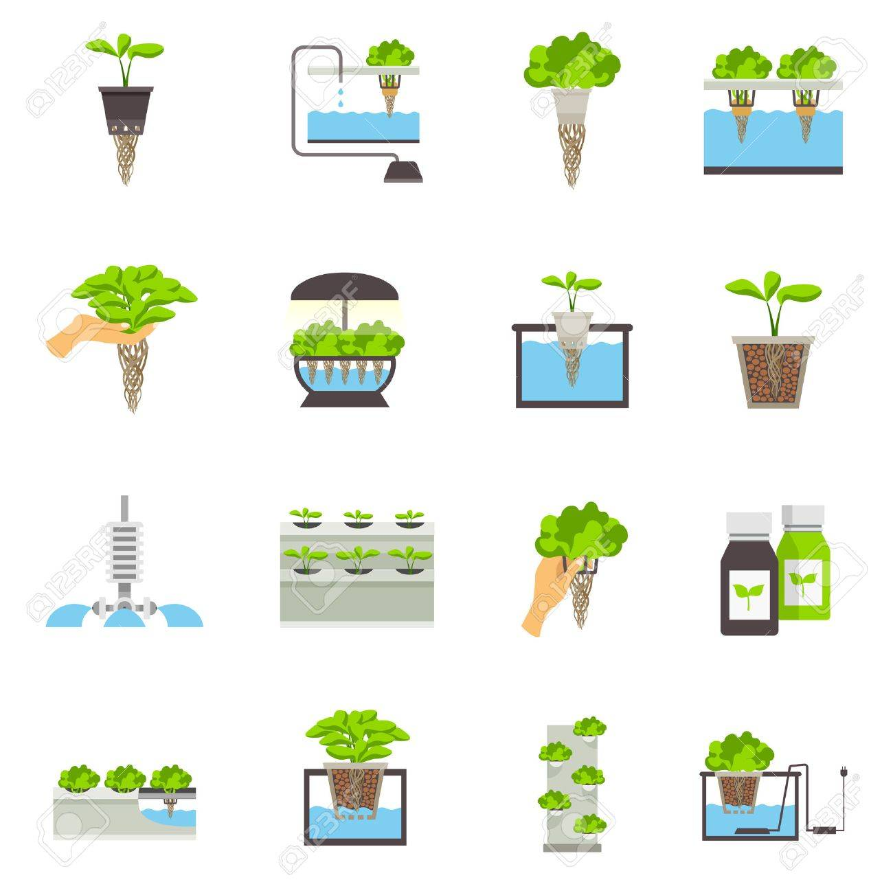 Set of color flat icons depicting elements of hydroponic system vector illustration Stock Vector - 60299299