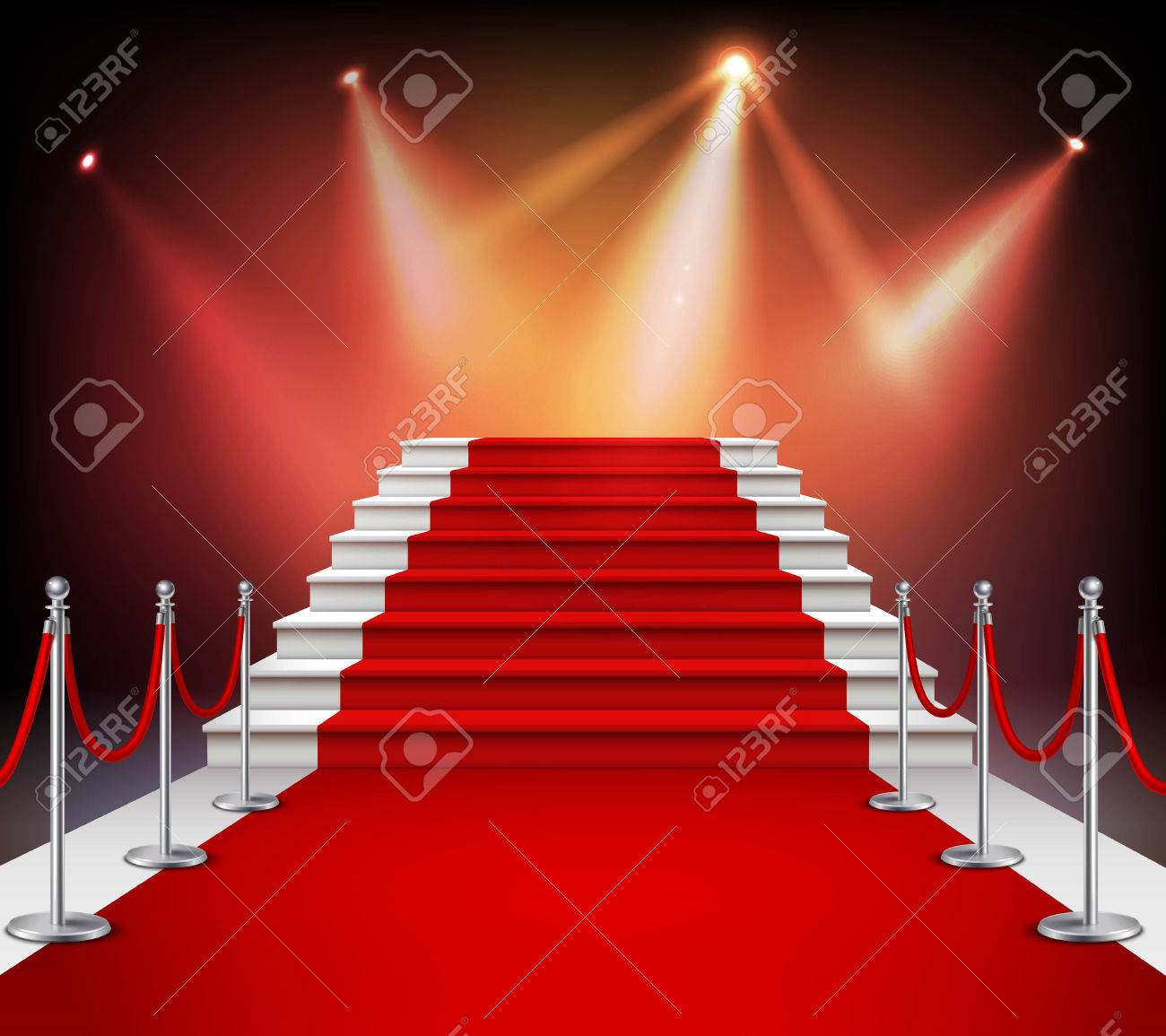 White stairs covered with red carpet and illuminated by spotlight realistic vector illustration Stock Vector - 60299428