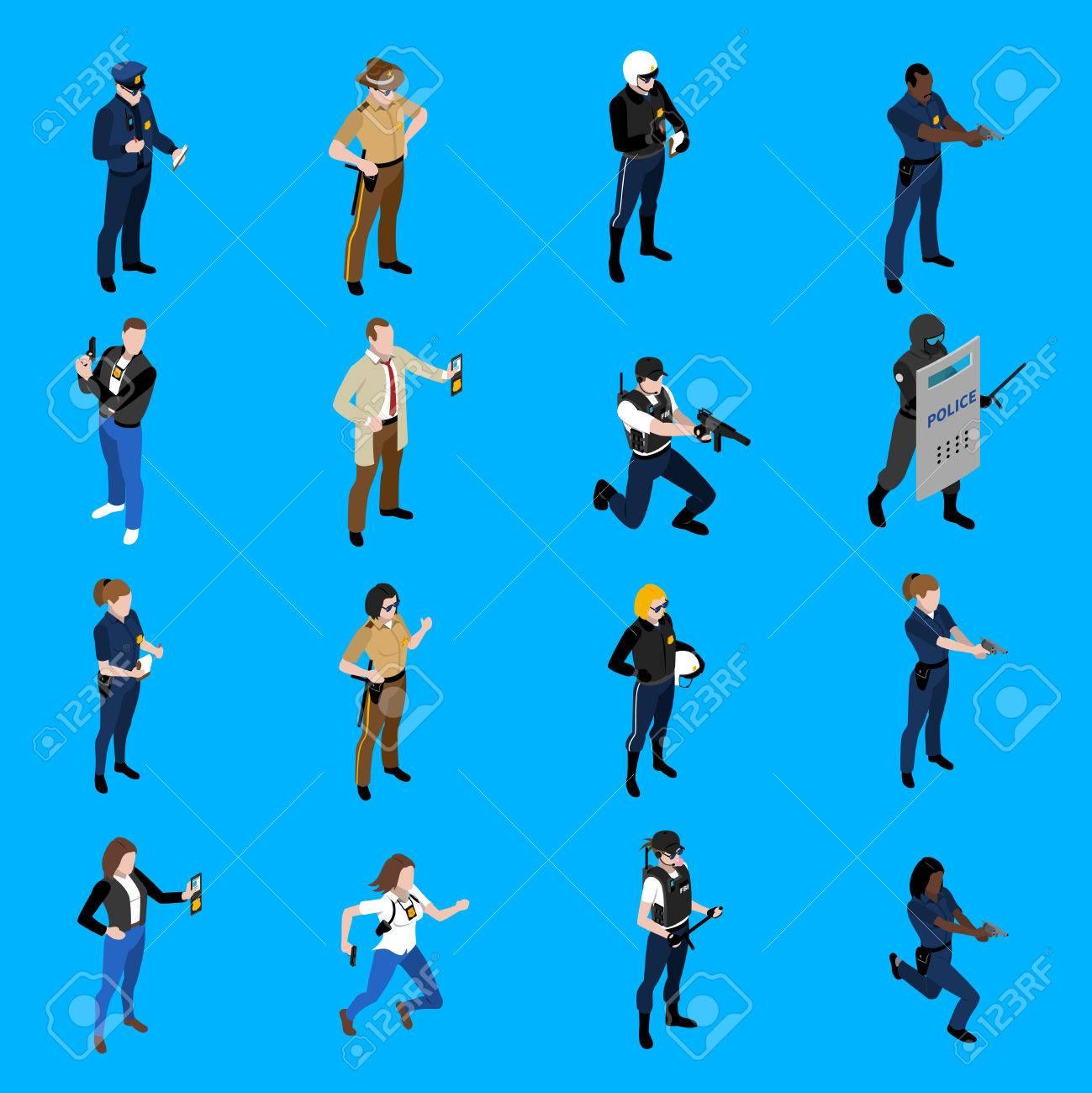 警官と異なる制服探偵保安パトロール ベクトル イラスト女性警察官を描い