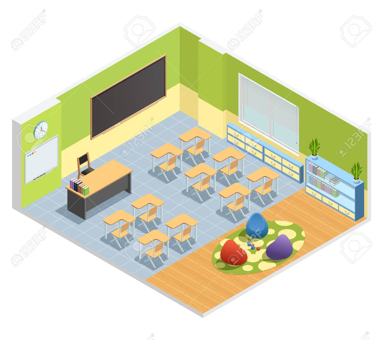 Isometric Poster Of Classroom With Chalkboard Table For Teacher Students  Desks And Special Zone With Playground