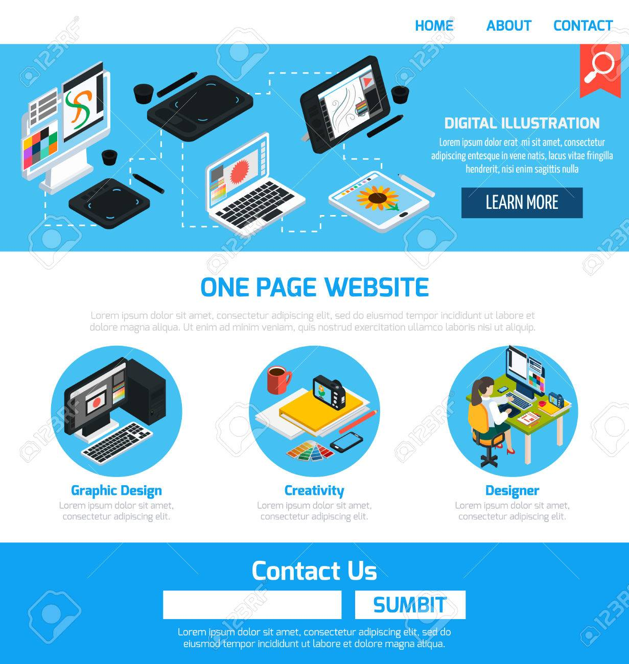 Graphic Design Advertising Template For Website With Elements ...