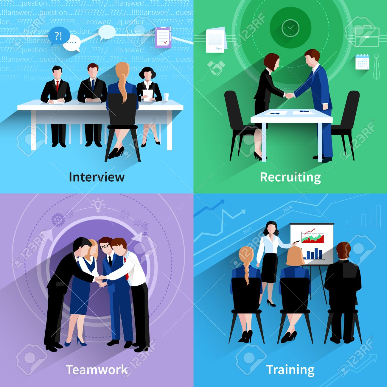 human resources interview recruiting and teamwork training  human resources interview recruiting and teamwork training 4 flat icons square composition banner abstract isolated vector