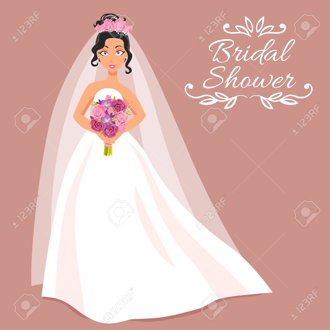 bridal shower cartoon invitation with beautiful young bride in white dress and veil on rose background