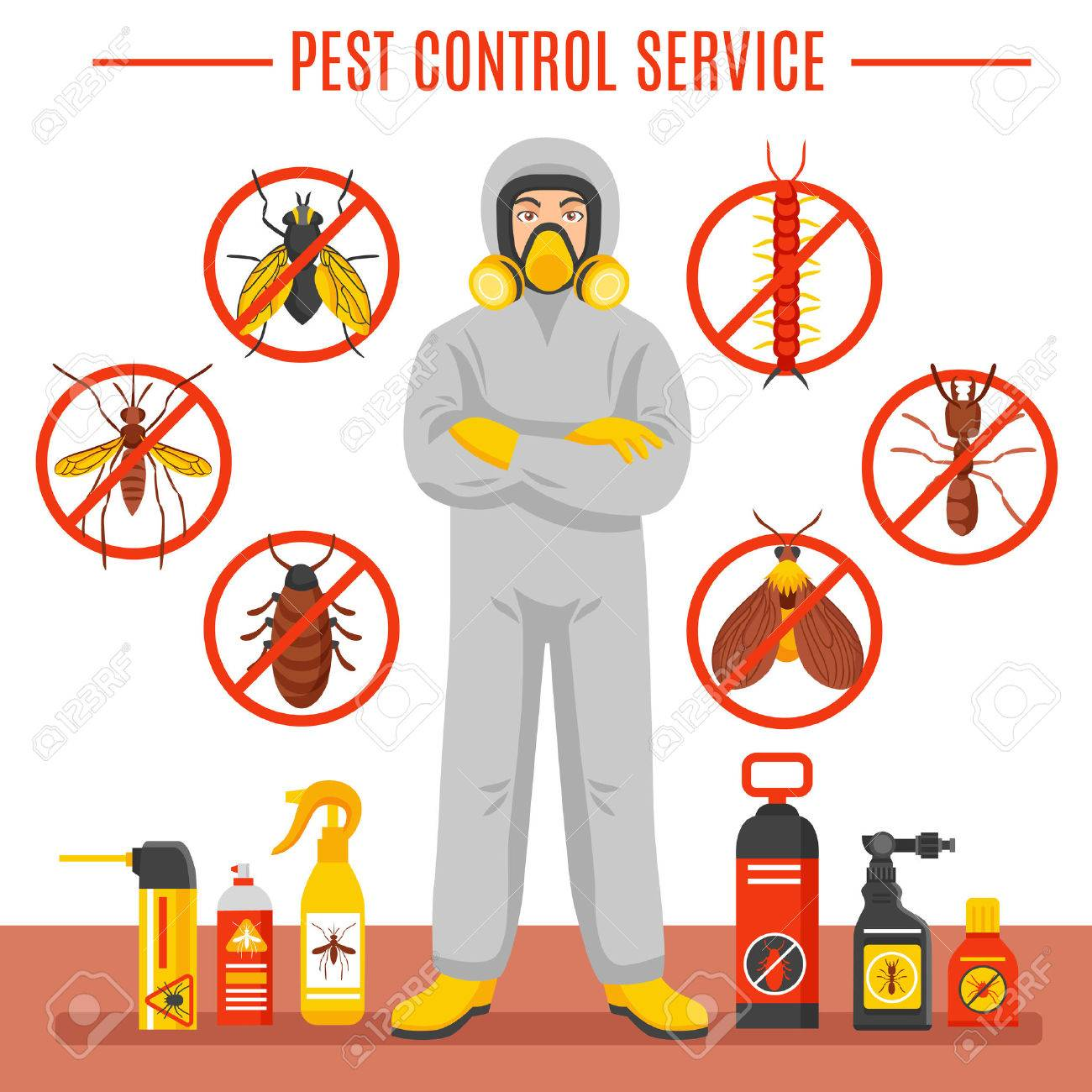 Pest control service vector illustration with exterminator of insects in chemical protective suit termites and disinfection cans flat icons Stock Vector - 61084473