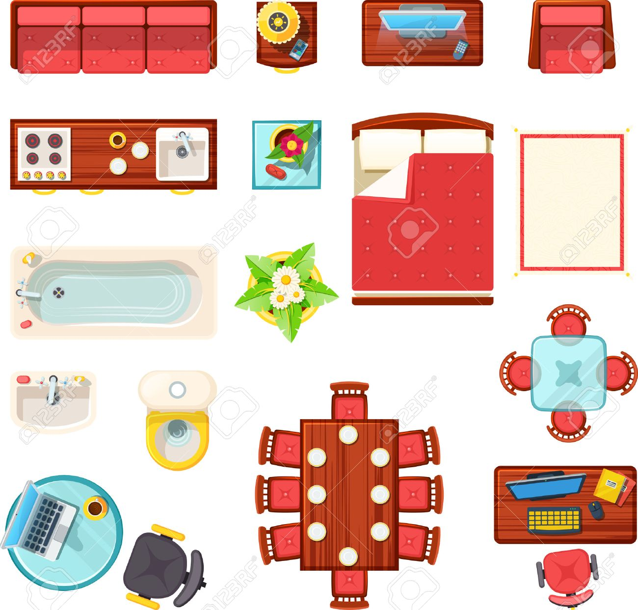 Home Furniture Top View Set With Bath Table And Bed Flat Isolated Vector Illustration Stock