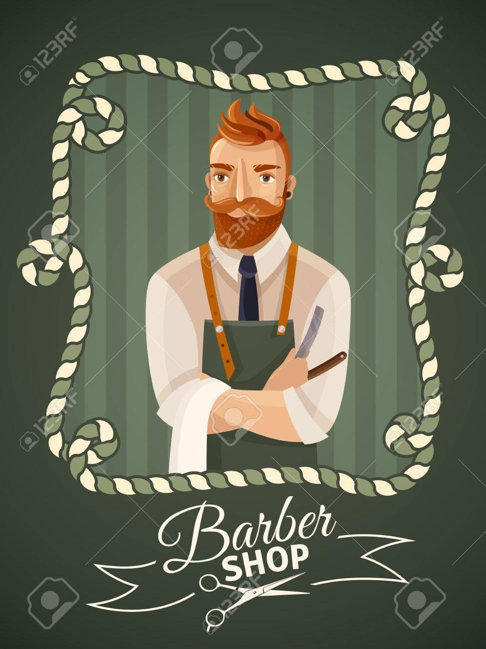 Friseursalon Plakat Vorlage Mit Hipster Männlichen Friseur In Rahmen