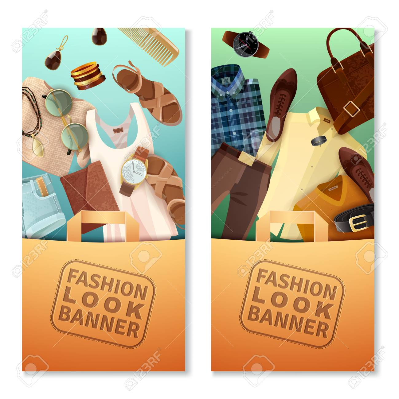 vertical fashion look banners with shopping bags male and female
