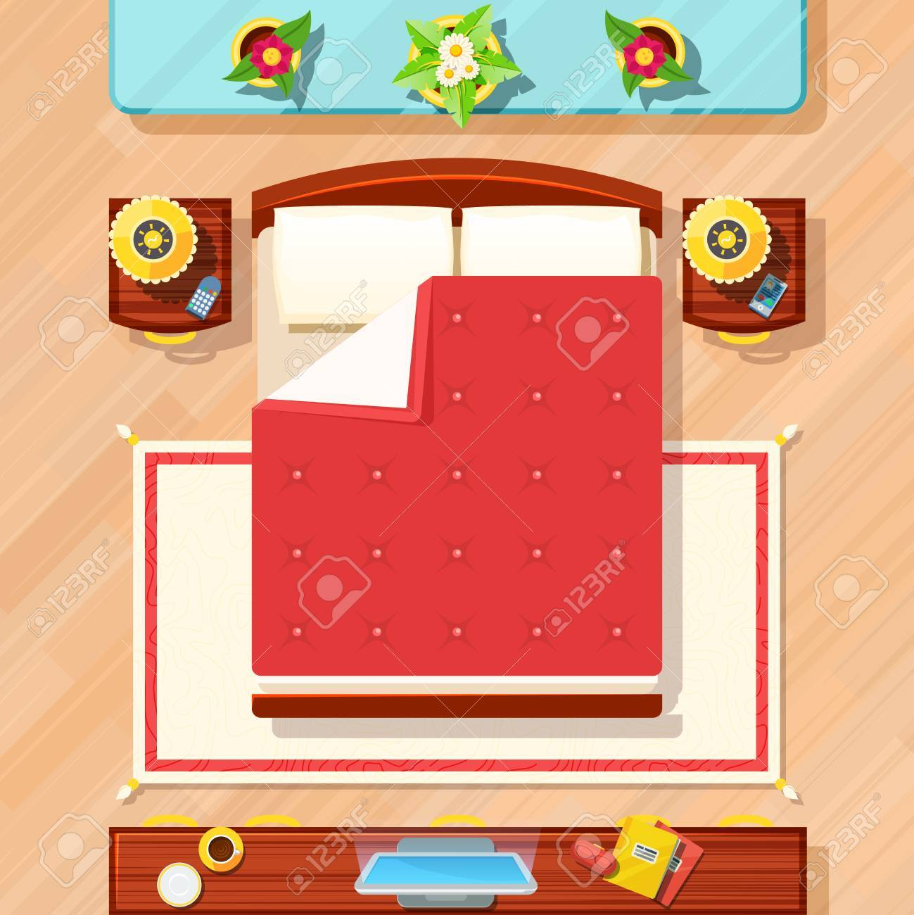 Bedroom Top View Design With Bed TV Lamps And Flowers Flat Vector  Illustration Stock Vector