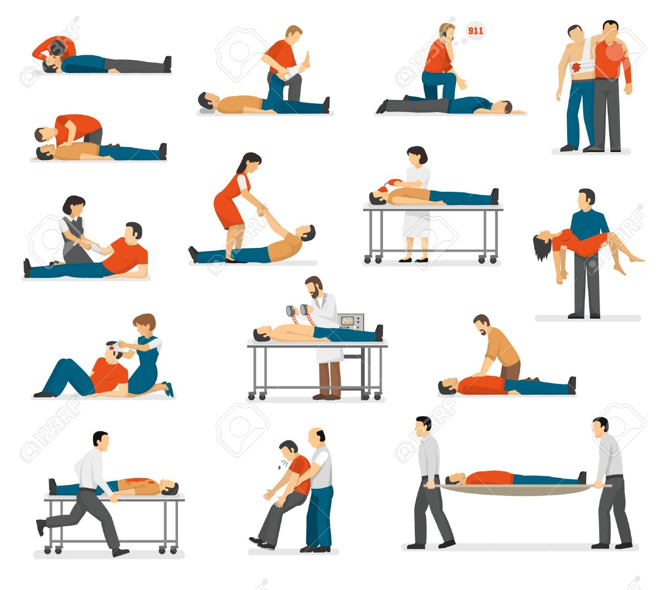 First aid emergency treatment and cpr technique in life threatening situations flat icons collection abstract isolated vector illustration - 61495357