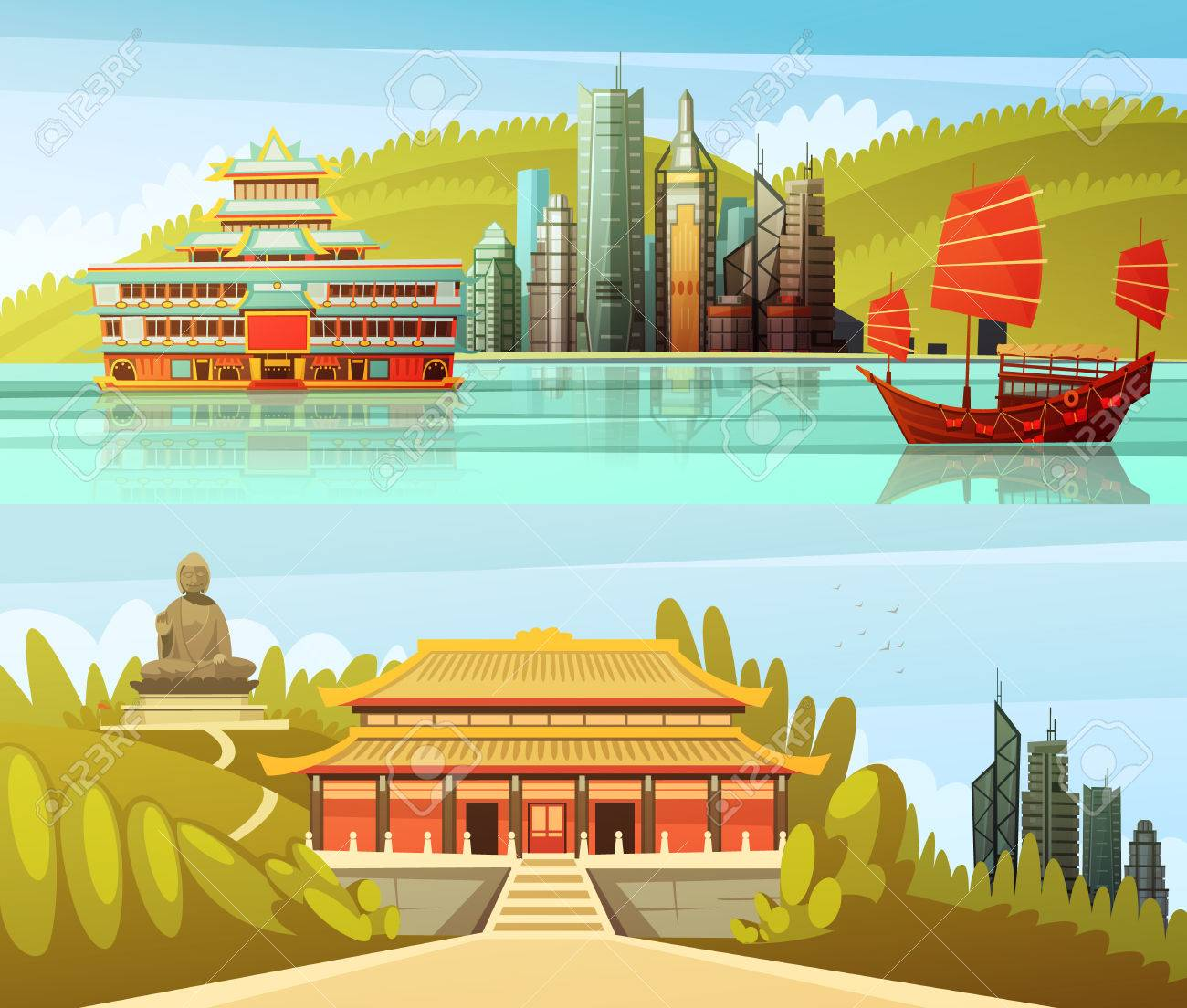 Hong kong horizontal banners with colorful pictures of modern skyscrapers and traditional architectural and cultural elements flat vector illustration Stock Vector - 61577042