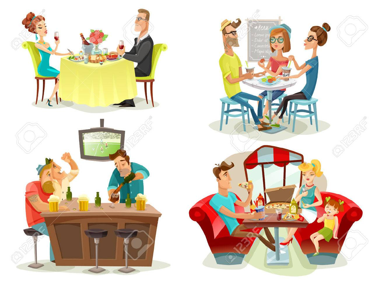 Restaurant cafe bar 4 colorful pictures square with football fans family diner and dating couple abstract vector illustration Foto de archivo - 61577044