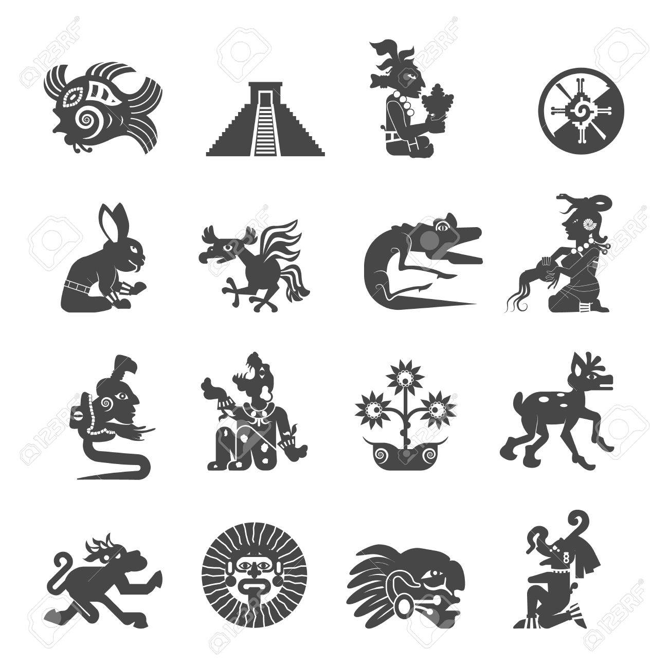 Maya Writing Ancient Script Black Icons Collection With Astrological