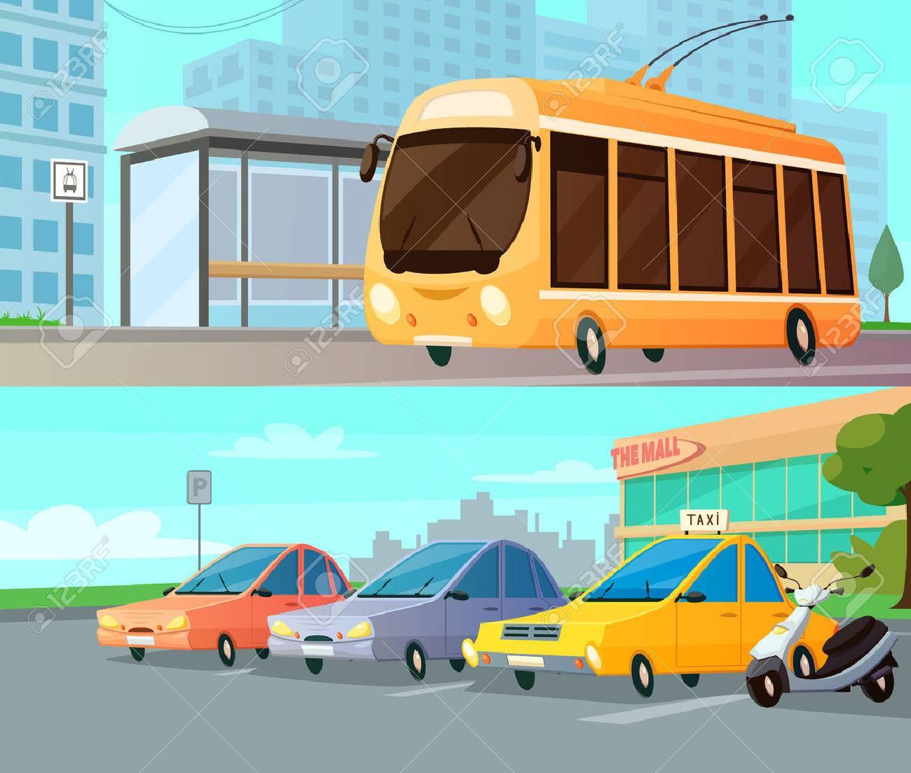 Vettoriale città di trasporto dei cartoni animati composizioni