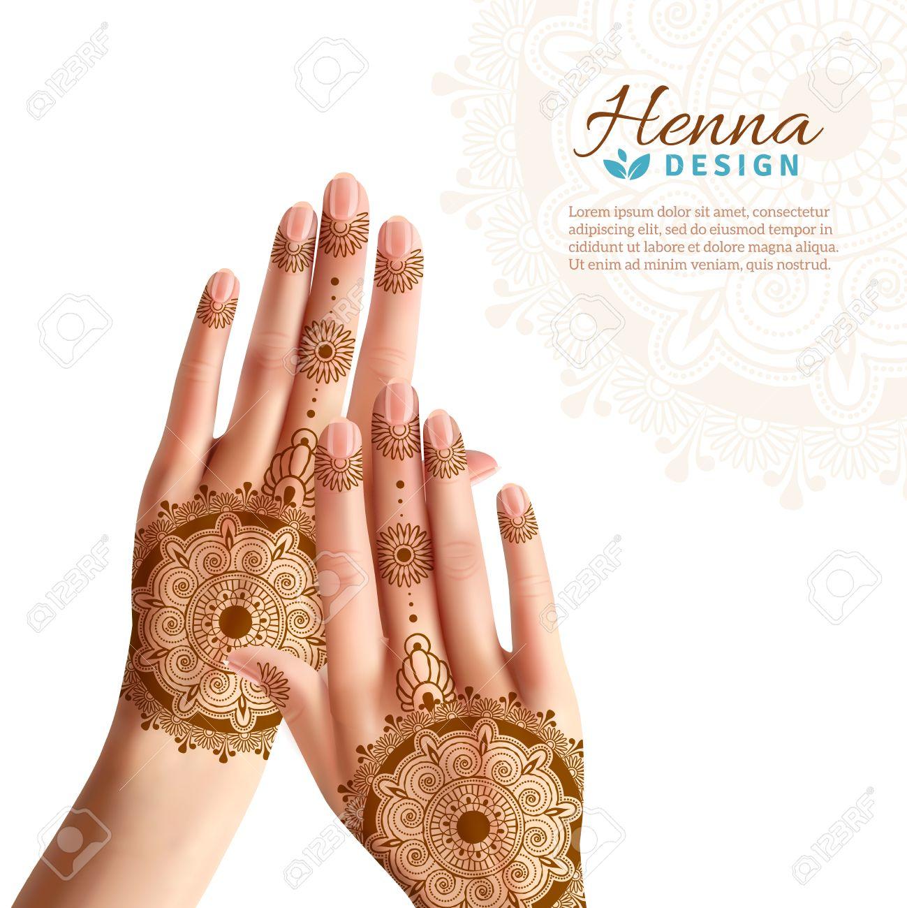 Manos De Las Mujeres Para Colorear Con Pasta De Henna Indio O El ...