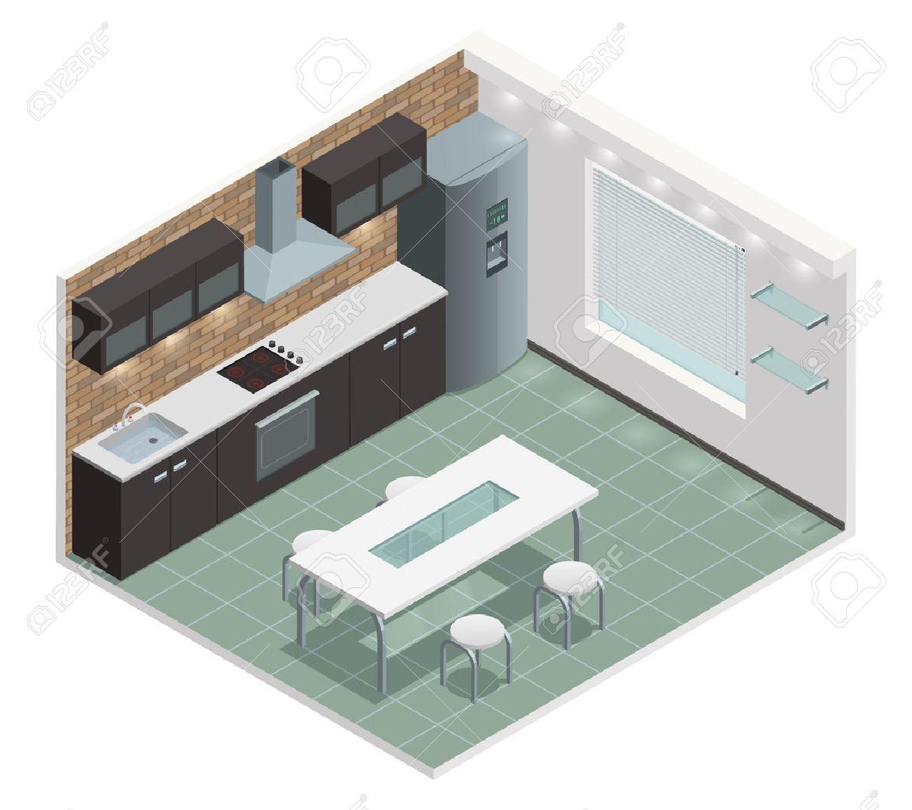 Armoire Comptoir De Famille vue de la famille moderne cuisine isométrique avec comptoir construit dans  les armoires de style four et européennes illustration vectorielle