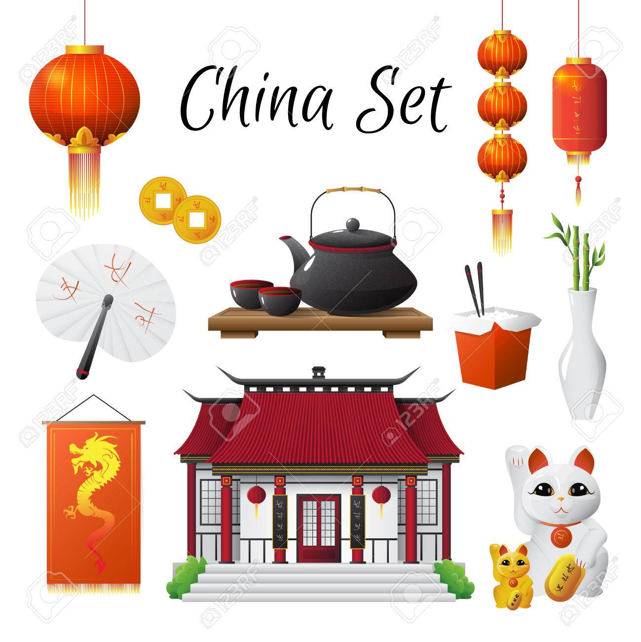 Chinese Culture Classic National Symbols Set With Red Lantern