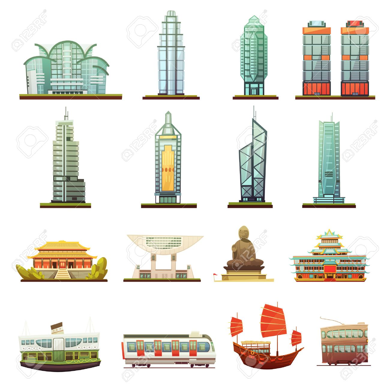 Hong Kong city landmarks temple buddha statue and transportation elements retro cartoon icons collection isolated vector illustration Stock Vector - 62525408