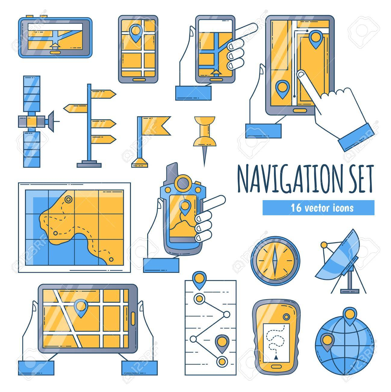 Navigation Flat Color Icons Set With Map Comp Satellite Dish ... on