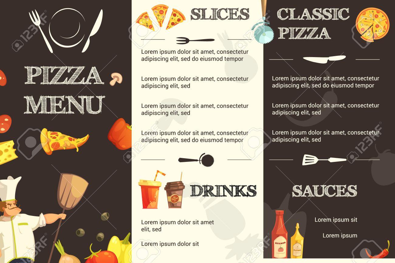 Plantilla De Menú De Restaurante Y Pizzería Con Diferentes Tipos De ...