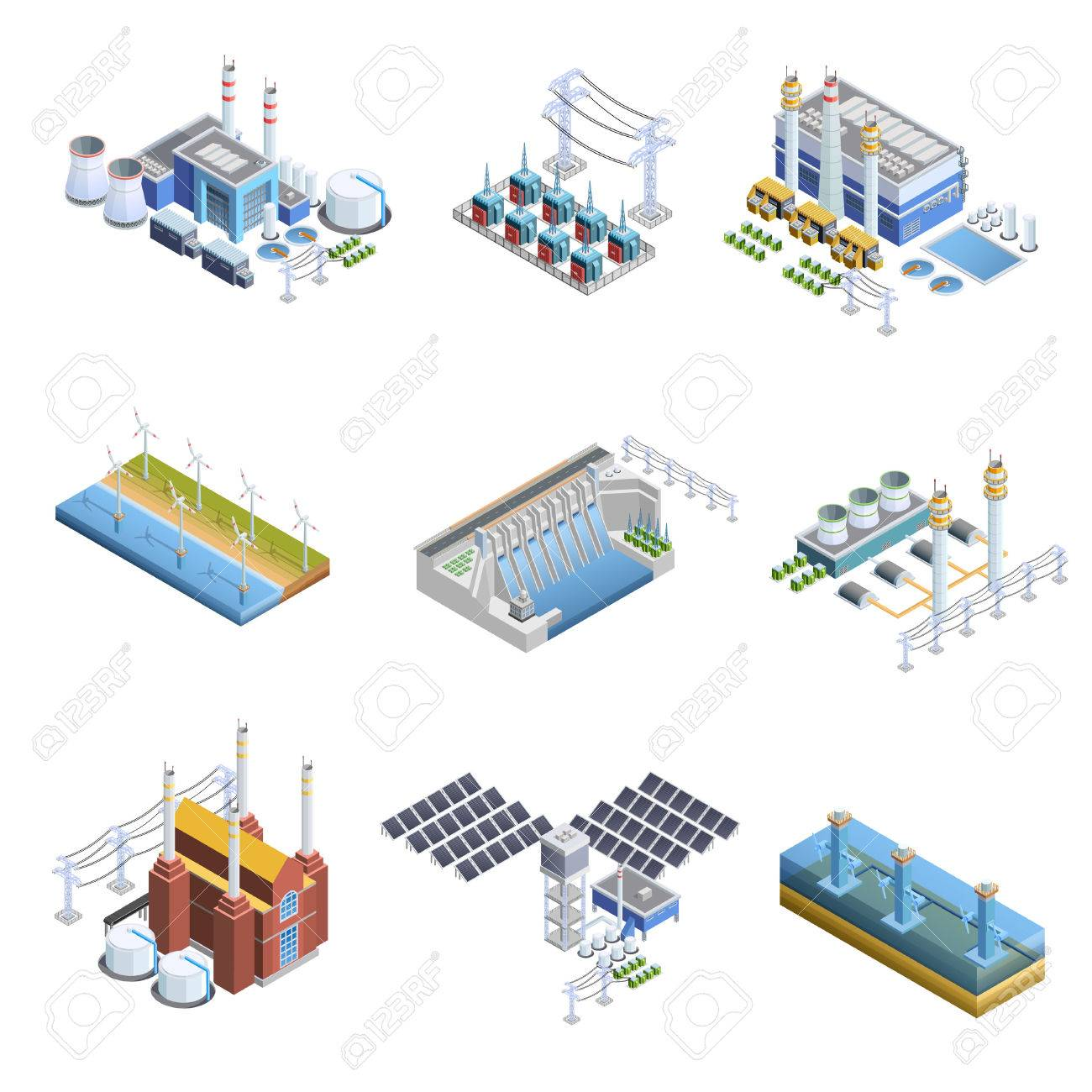 Isometric images set of different types of electricity generation plants from gas turbine to solar isolated vector illustration - 62539186