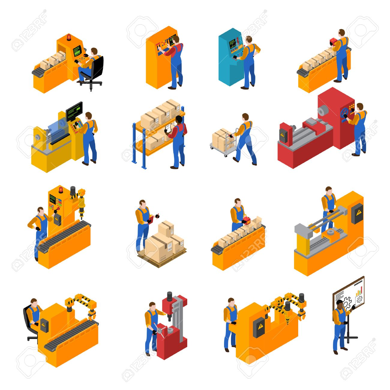 Factory workers isometric icons set with production symbols isolated vector illustration Stock Vector - 62539531